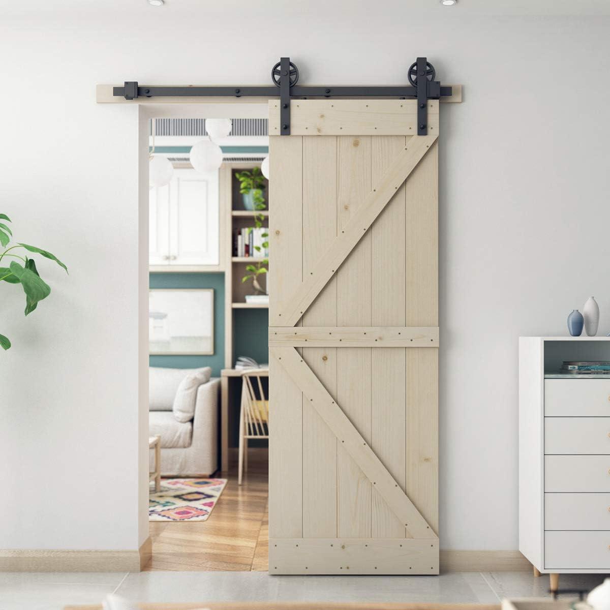 SmartStandard - Puerta corrediza de madera de granero de 30 x 84 pulgadas, pre-perforada, lista para montar, bricolaje, sin acabado, con panel de madera de cáñamo, solo puerta interior, natural, marco en