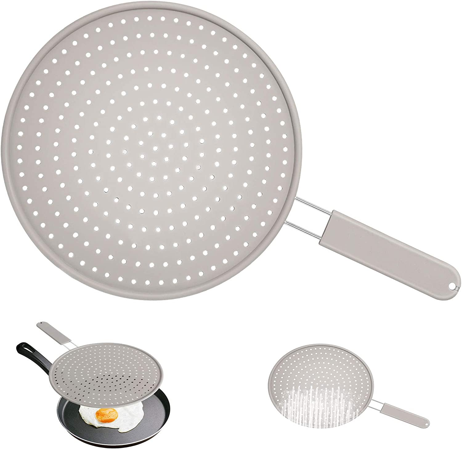 TMEDW Silicone Splatter Screen for Frying Pan,11 Inch Multi-Use 4 In 1 Grease Splatter Guard, Cooling Mat, Drain Board and Strainer, Non-Stick, Food Safe, High Heat Resistant Pan Cover