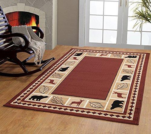 furnishmyplace Wildlife Bear Moose Rustic Lodge Cabin Lodge Carpet Area Rug, Brown, 8'x11'