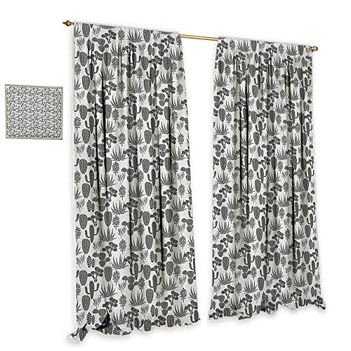 cobeDecor Cactus Thermal Curtains A Collection of Cacti Plant Silhouettes Greyscale Succulent Arrangement Desert Flora Home Garden Bedroom Outdoor Indoor Wall Decorations 55