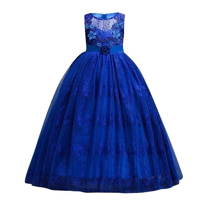 Miyanuby Vestido de Princesa, Chica Encaje Bowknot Flores 3D Decoradas Vestido de Fiesta Largo/Niños Boda Vestido de Dama de Honor/Vestido del Desfile para ...