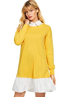 7c6ee784fdc SheIn Women s Contrast Collar and Hem Color Block 2 in 1 Basic Sweater Dress