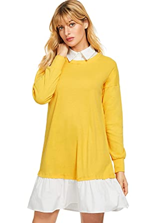 3c8697273a9 SheIn Women's Contrast Collar and Hem Color Block 2 in 1 Basic Sweater Dress  Yellow X