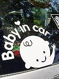 [ペパーミント] 赤ちゃん ベビーインカ― ステッカー 黒白 2枚セット BABY IN CAR カーステッカー 夜光反射ステッカー 生活防水性