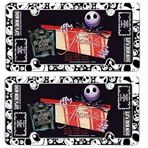 Jack Skellington Faces Heads Expressions Tim Burton Nightmare Before Christmas Disney Auto Car Truck SUV Vehicle Universal-fit License Plate Frame - Plastic - PAIR