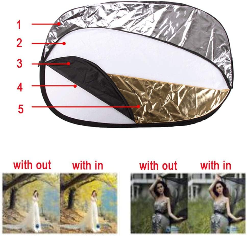 24x 36//60x90cm 5 in 1 Collapsible Reflector//Flash Diffuser Kit,Camera Elliptical Reflector with Zipper Carrying Case for Photography Photo Studio Lighting-Gold,Silver,White,Black,Translucent