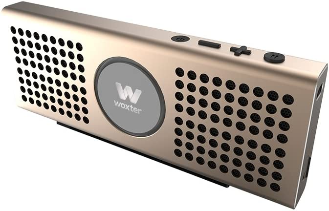 Woxter Big Bass BT-20 Golden- Altavoz portátil Bluetooth Ultracompacto de Aluminio, 10W (Bluetooth 4.0+EDR,función Manos Libres,Lector de Tarjetas, Entrada AUX), Color Dorado