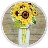 Pixels Round Beach Towel With Tassels featuring ''Rustic Country Sunflowers In Mason Jar'' by Audrey Jeanne Roberts
