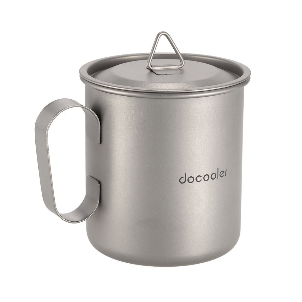 Docooler 420ml Titanium Cup With Cover Camping Mug With Lid Picnic Water Cup Outdoor Tableware