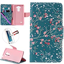 LG G4 Stylus LS 770 Case, ISADENSER Premium Mobile Cover Protect Skin Leather Cases Covers With Card Slot Holder Wallet Book Design For LG G Stylo LS770, Apricot Tree