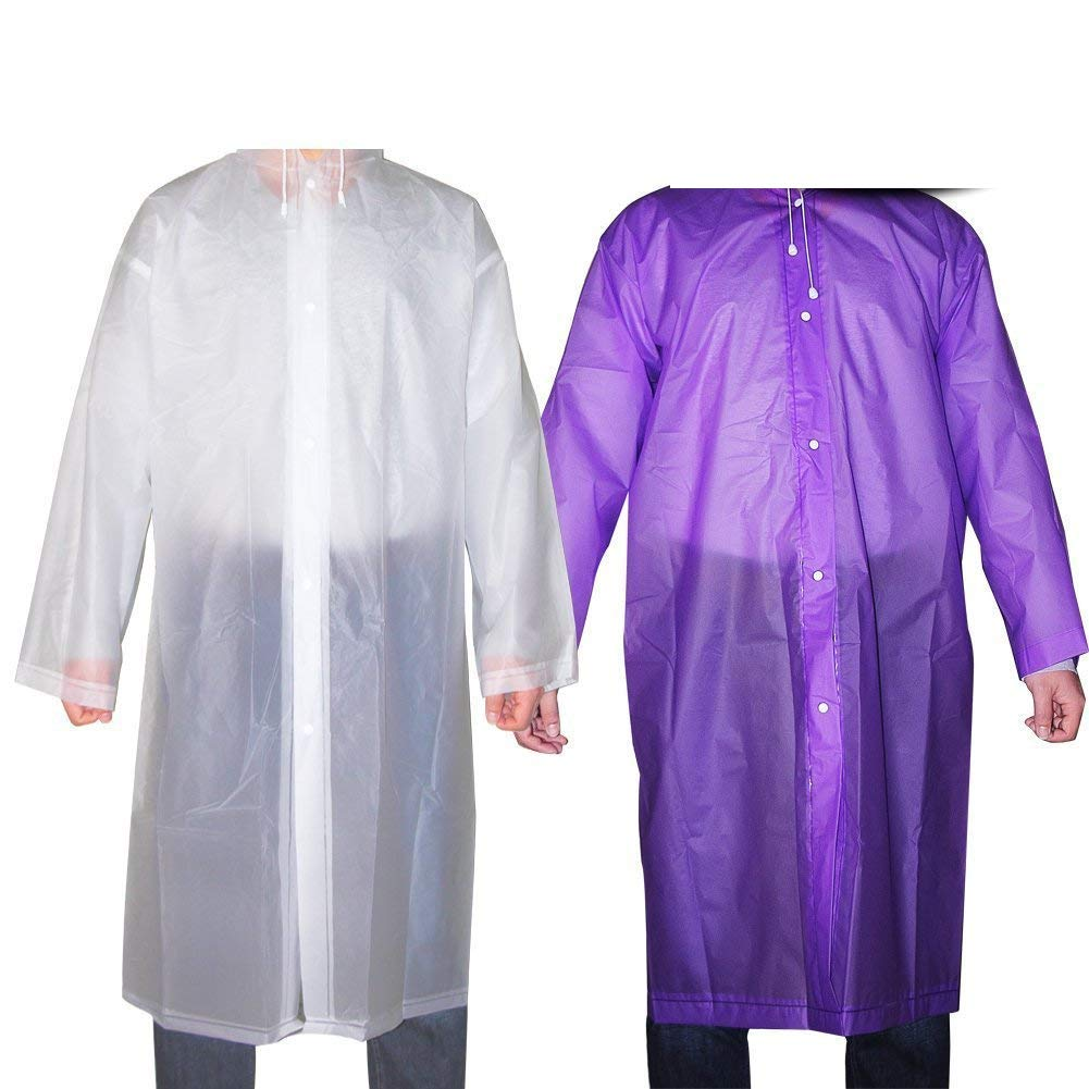 Alotm 2 Pack Reusable Drawstring Raincoat Portable Rain Poncho with Hood and Sleeves for Unisex Adults Women Men, for Theme Parks, Trip, Camping or School Outdoor Events