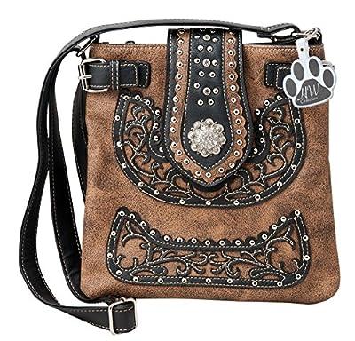 HW Collection Western Purse Scroll Floral Rhinestone Concho Buckle Concealed Carry Crossbody Handbag