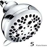 Shower Head, Wassern High Pressure Flow Save 30% Water Intake Air Wall Mount Massage Rainfall Powerful Rain Spray 3.5inch 74 jets 5 setting Adjustable Swivel Joint Chrome