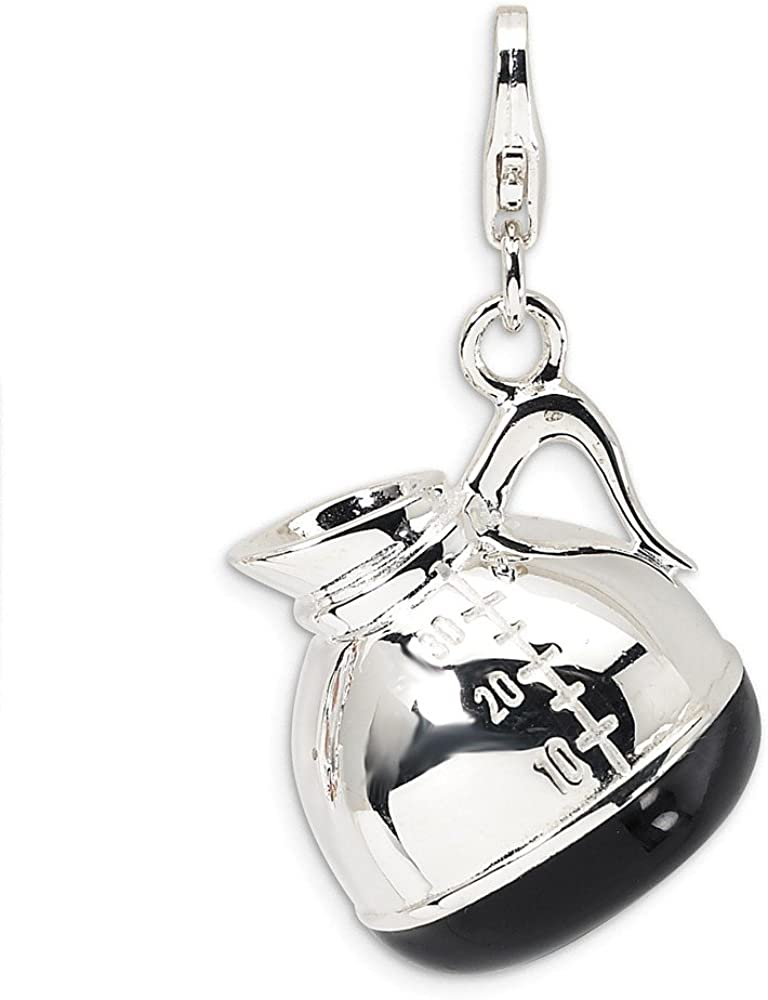 Sterling Silver Rhodium-plated Enameled Panda with Lobster Clasp Charm