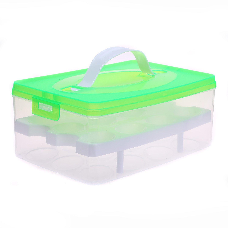 TUKA portatile contenitore da 24 uova - doppio strato - con chiusura a clip - per frigorifero cucina all' aperto, uovo contenitore, grande capienza Organizer Scatola con manico, Arancia, TKD6101-orange TUKAI