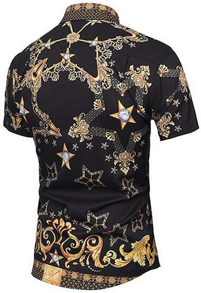 MMCP Mens Hip Hop 3D Print Summer Regular Fit Short Sleeve Button Up Dress Work Shirt
