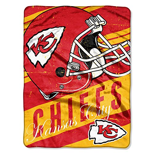 The Northwest Company Kansas City Chiefs NFL 46x60 Deep Slant Design Micro Raschel Plush Throw Blanket with Distressed Look (Throw Raschel Micro Nfl)