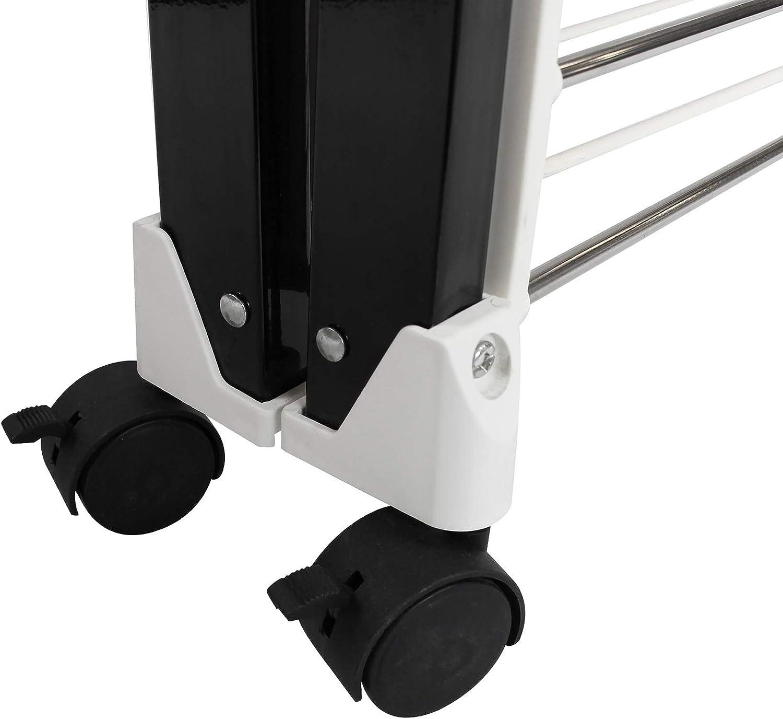 Materiale: Plastica ABS Porta Abiti Pieghevole Nero//Bianco Dimensioni delle grandi griglie laterali pieghevoli: 49,0 x 43,2 cm Sotech 174 x 105 x 84 cm Stendibiancheria Pieghevole x 4 pezzi