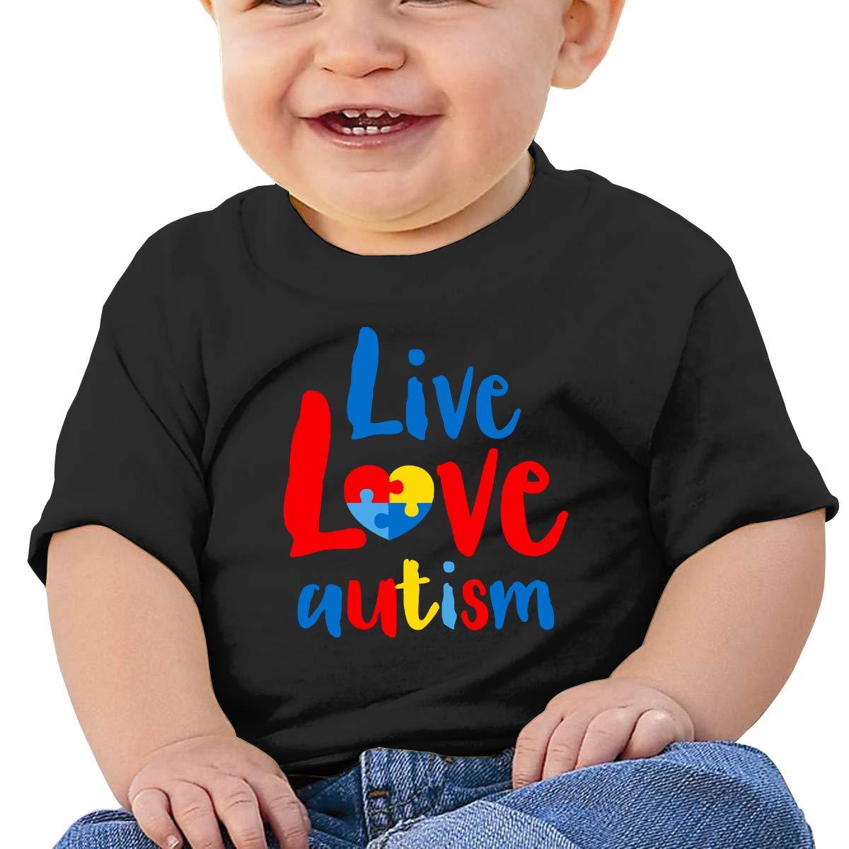 Live Love Autism Baby Boys Girls Short Sleeve Crew Neck T-Shirt 6-18 Month Tops