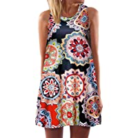 2e1a01418d70 TWGONE Tunic Dress for Leggings for Women Plus Size Vintage Boho Summer  Sleeveless Beach Printed Mini