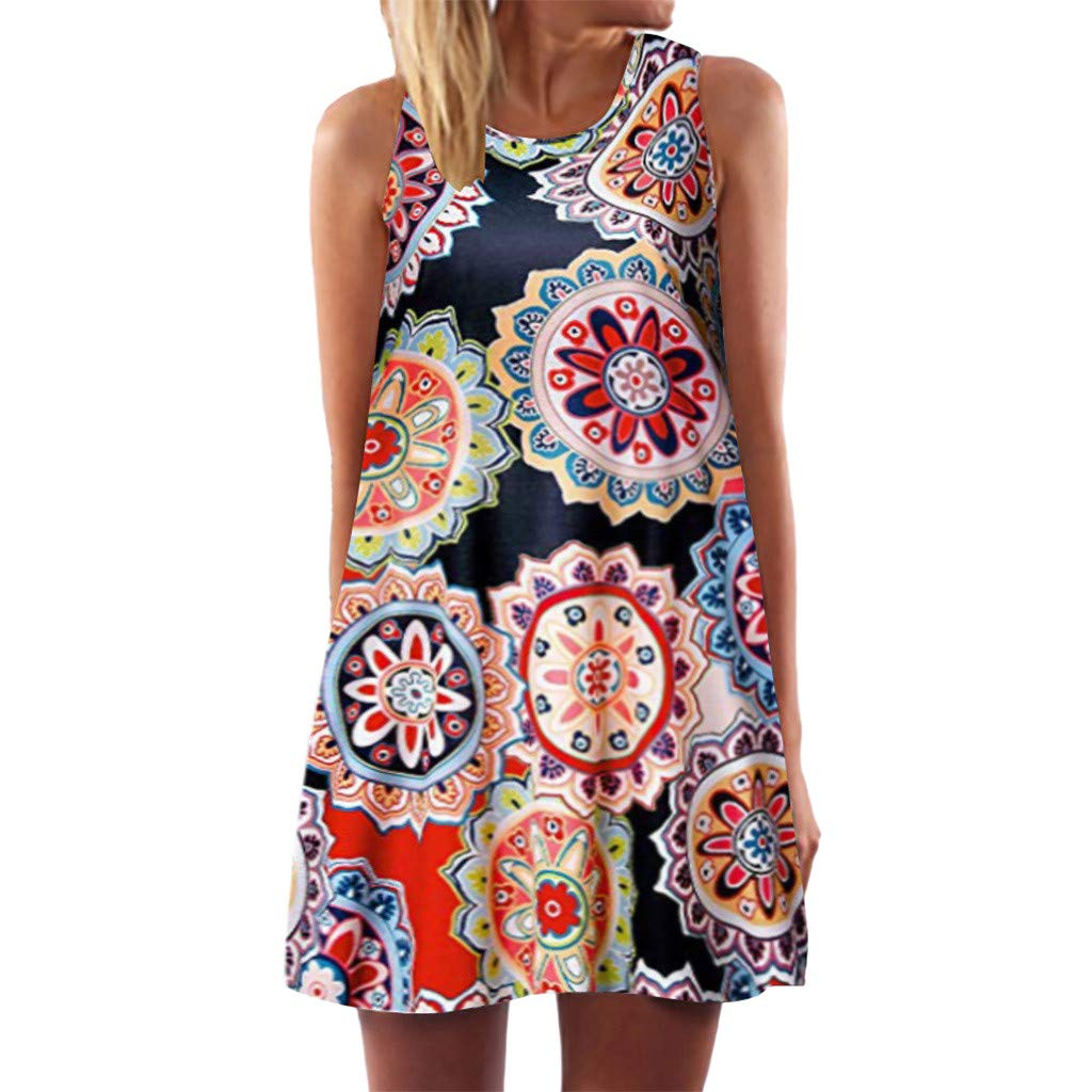 Women Casual Vintage Floral Print Mini Dress Plus Size Loose Fit Tank Tops Ethnic Style Tshirt Dress(XXXXXL,Multicolor)