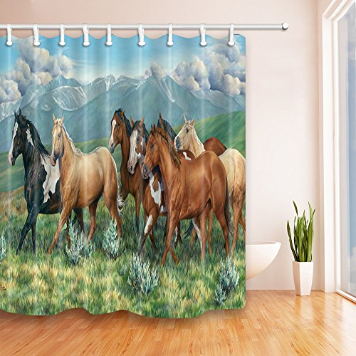 - Brown Black Horse Shower Curtains Animal Personality Creativity Bathroom Decor Waterproof Polyester Fabric Home Bath Decor Accessories Blackout Hanging Shower Curtain Sets 69 x 70 Inch Includes Hooks
