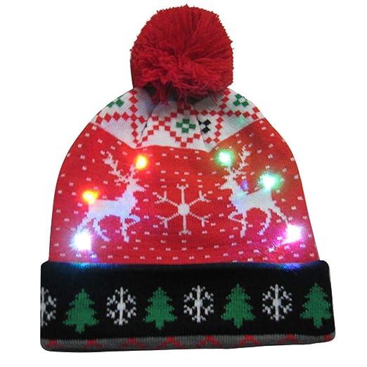 b18648b95a3 Amazon.com  callm Wemon Man Merry Christmas LED Light-up Knit Hat Beanie  Hairball Warm Cap Gifts  Home Improvement