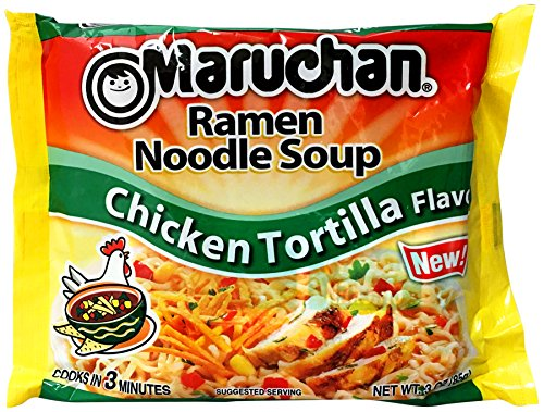 Maruchan Ramen Noodle Soup, Chicken Tortilla Flavor, 3 Ounce (Pack of 24) (Chicken Maruchan Soup)