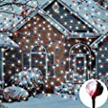 EAMBRITE Multi LED Snowfall Projector with Remote and Base Multi Function Rotating Falling Snow Spotlights and Landscape light for Home Yard Garden