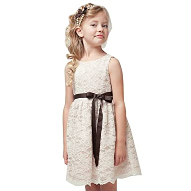CHICTRY Kids Girls Vintage Flower Girl Dress Lace Princess Pageant Party Gown Wedding Dresses Beige 2