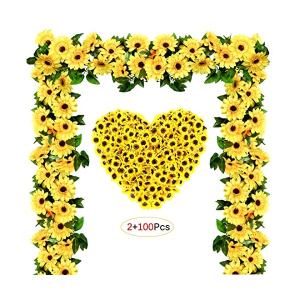M&C Music Color Artificial Silk Sunflower, Fake Sunflower for Sunflower DIY Wedding Fall Autumn Party Floral Wreath Accessories