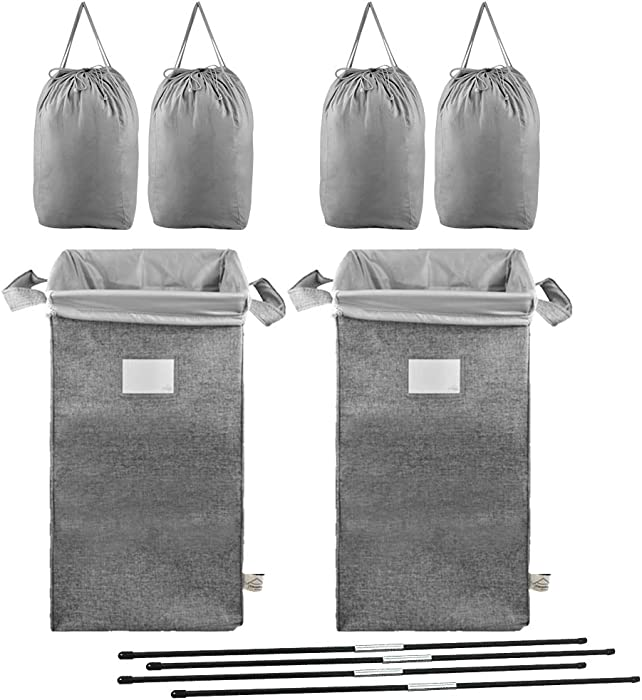 MCleanPin Double Laundry Hamper with 4 Removable Laundry Bags,2 Pack Collapsible Laundry Sorters with Sorting Card, 2 Section Dirty Clothes Hamper Dorm Room for College,Grey
