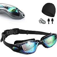 نظارة سباحة، [مقاومة للضباب/الاشعة فوق البنفسجية] نظارة سباحة لروية واسعة شفافة للبالغين من الرجال والنساء، نظارة سباحة…