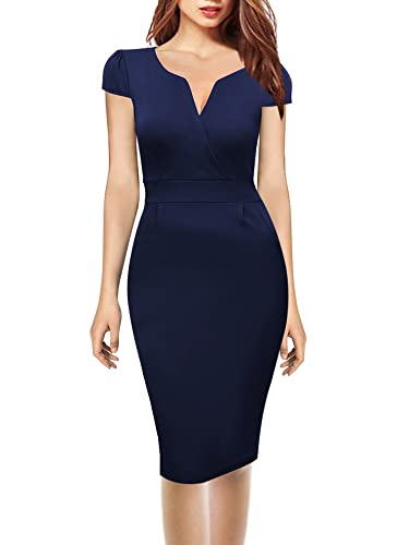 Oxiuly Women's V Neck Retro Business Casual Cotton Pencil Work Midi Dress OX173