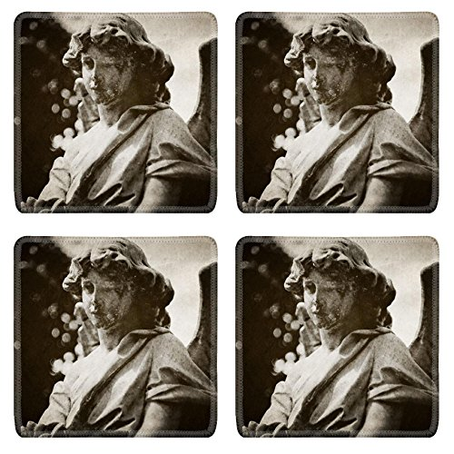 MSD Natural Rubber Square Coasters IMAGE 21524828 Angel tombstone vintage textured (Angel Tombstone)