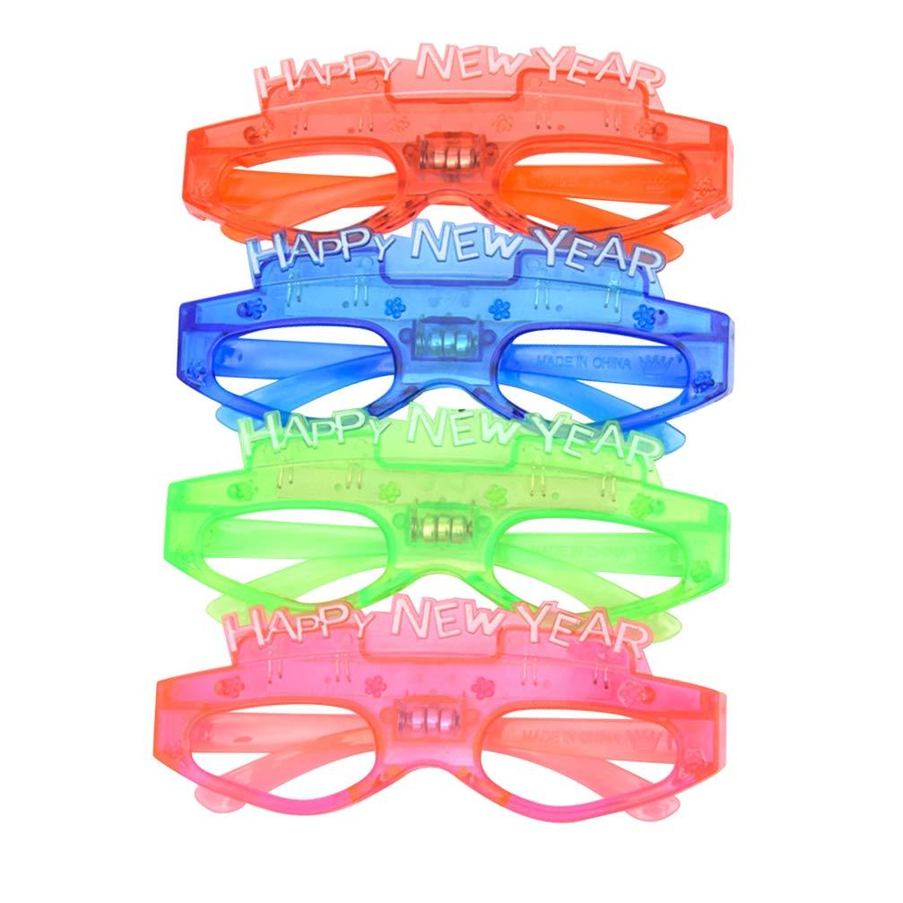 Amosfun Feliz a/ño Nuevo anteojos 2020 Fiesta Gafas de Sol 4pcs anteojos Gafas Divertidas Nochevieja Fiesta Gafas 2020 Nochevieja Fiesta Decoraciones Color Aleatorio