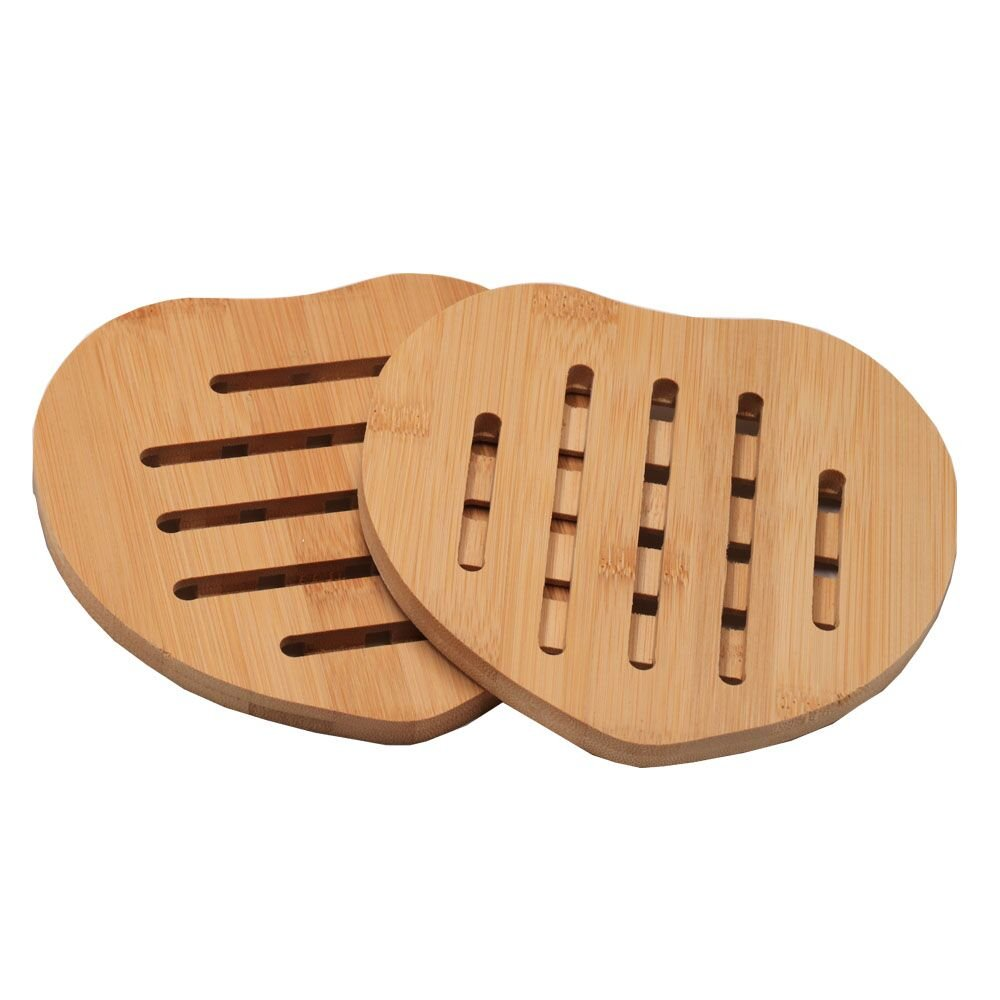 Bamboo Trivet Mat Coaster 2 pack,Sturdy and Beautiful Kitchen Dishes Heat Insulation Plaecemat Hot Pads,Bamboo Coaster