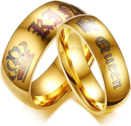 Blowin Newest Golden King And Queen Crown Rings His And Hers