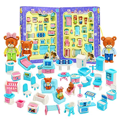 XHAIZ Dollhouse Furniture, Play House Toy Premium Plastic Pretend Play Doll Colorful Portable Dollhouse Accessories for Boys Girls Toddler