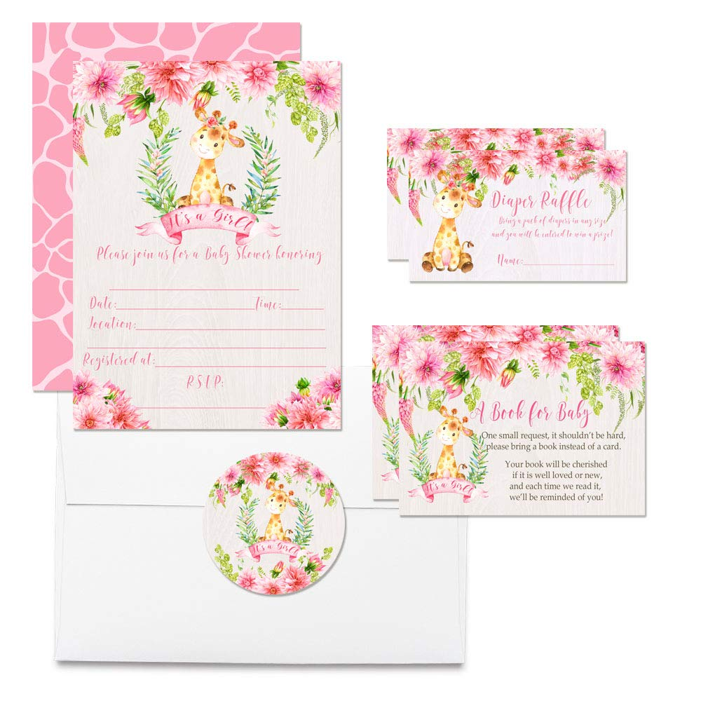 Deluxe Watercolor Floral Giraffe Baby Shower Party Bundle for Girls, Includes 20 each of 5''x7'' Fill In Invitations, Diaper Raffle Tickets, Bring a Book Cards, 2'' Thank You Favor Stickers w/ Envelopes