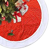 LimBridge 48'' Classic Shining Golden Stars Red Plush Christmas Tree Skirt with White Fur Trim Xmas Holiday Decoration