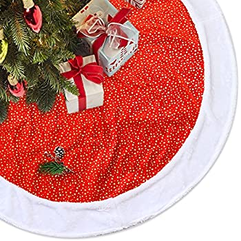 LimBridge 48 Classic Shining Golden Stars Red Plush Christmas Tree Skirt With White Fur Trim