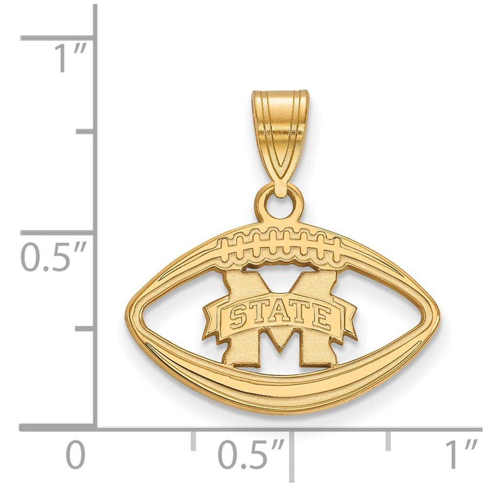 Jewel Tie 925 Sterling Silver with Gold-Toned Mississippi State University Pendant in Footba