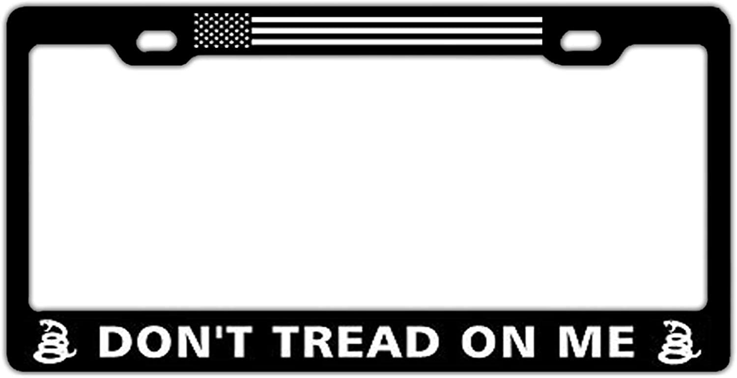 Dont Tread On Me US Flag Universal License Plate Frame for Women//Men Black License Plate Covers Cute Car Tag Frame with Screws