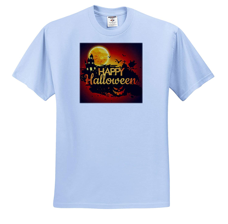 3dRose Sven Herkenrath Celebration Happy Halloween with Castle and Pumpkin for Celebration T-Shirts