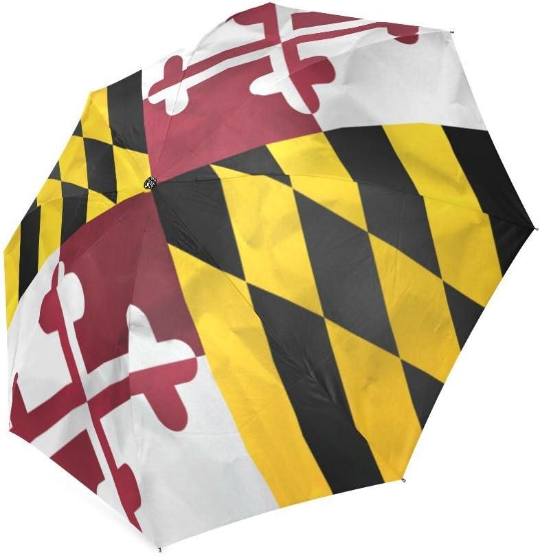 Custom Maryland State Flag Compact Travel Windproof Rainproof Foldable Umbrella