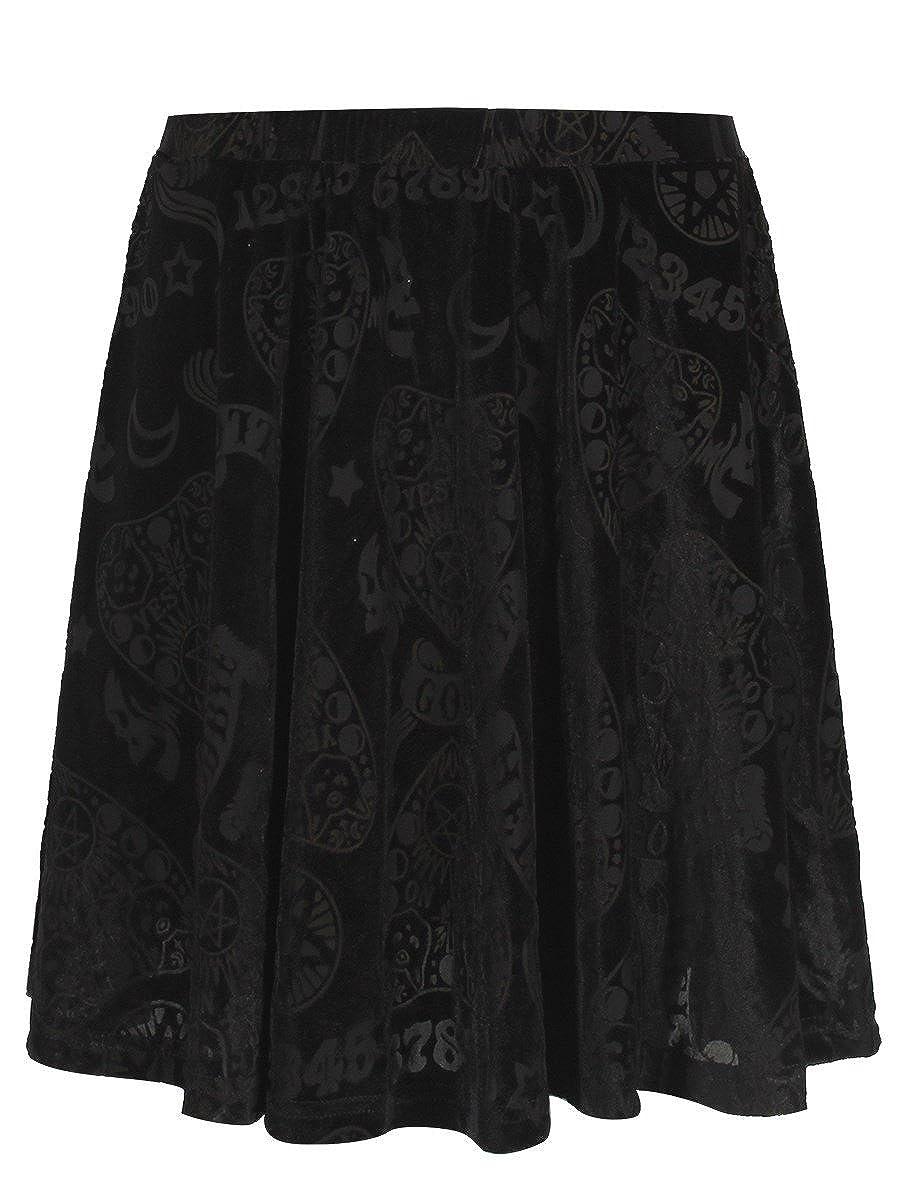 Banned Women's 9 Lives Velvet Skater Skirt Black