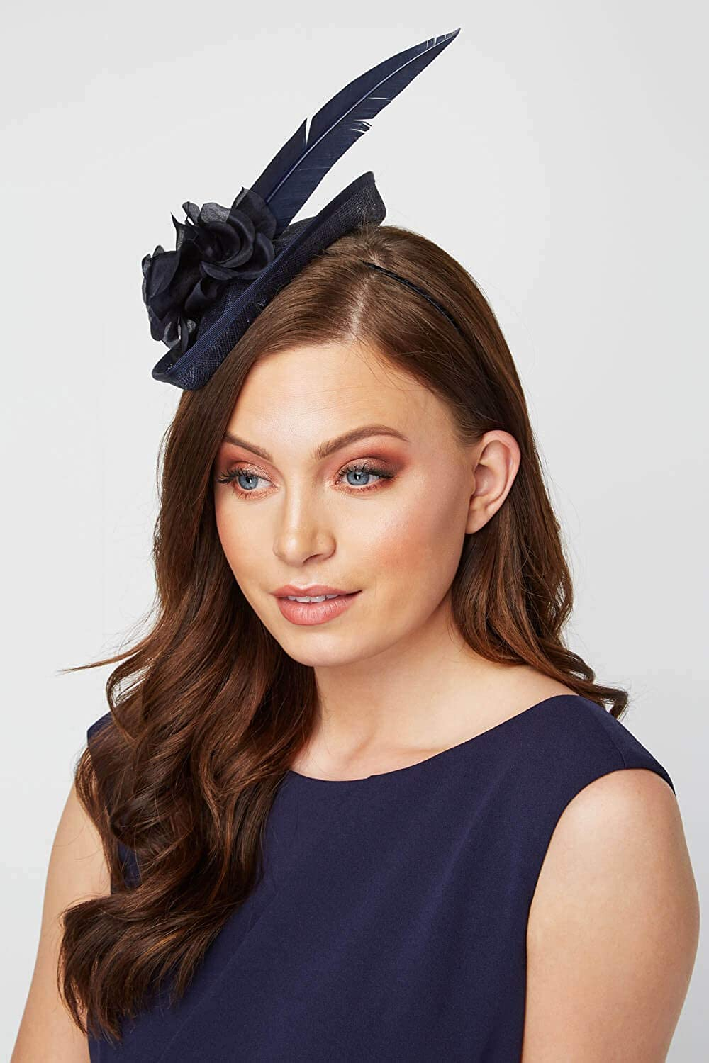 Roman Originals Women Pan Rose /& Feather Fascinator Ladies Smart Summer Holiday Evening Special Occasions Race Day Mother of The Bride Groom Wedding Guest Hat