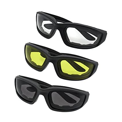2cd9653775 Image Unavailable. Image not available for. Color  Kerocy 3 Pair Motorcycle  Riding Glasses Smoke Clear Yellow ...