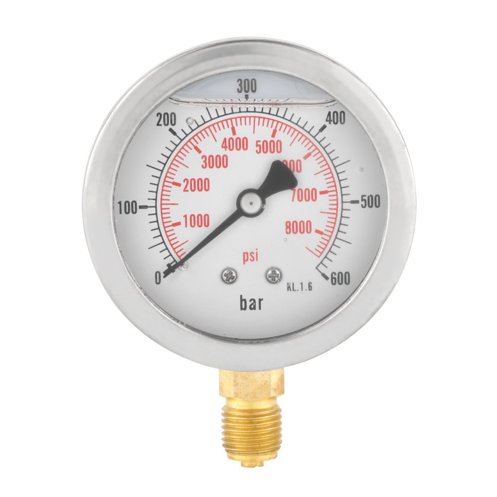 0-600Bar G 1/4 63mm Dial Hydraulic Water Pressure Gauge Meter Wal front